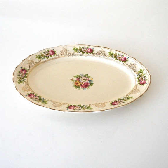 Vintage Serving Platter Edwin Knowles 1930s Roses Gold Trim Dining Entertaining English Cottage Home Decor Wall Hanging