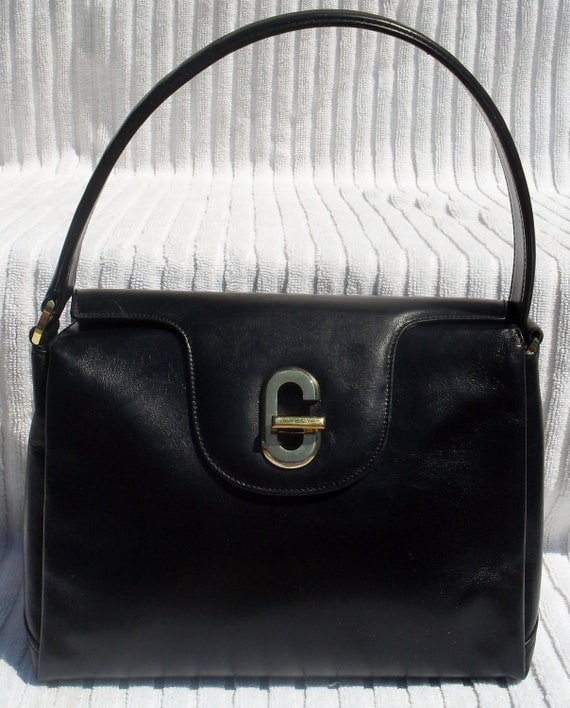 GORGEOUS RARE-- Vintage Authentic GUCCI --60s Purse Navy Leather --Lipstick Red Leather Lining