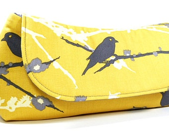 Clutch Purse - Yellow Grey Sparrows Bird Bag, Wedding Clutch, Bridesmaids Clutch
