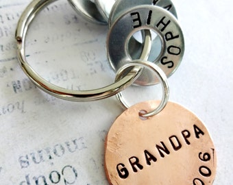 Grandpa Keychain Gift - GRANDPA EST. Personalized Hand Stamped Key Chain - Copper Disc and Washers
