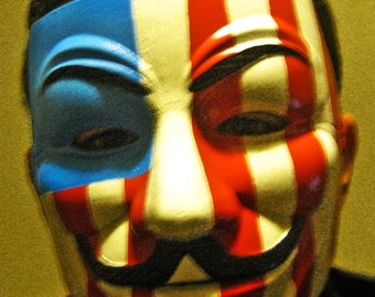 Guy Fawkes V for Vendetta Anonymous Custom hand Painted american flag with laugh lines Mask Occupy Protest