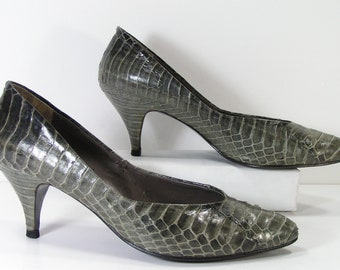 vintage reptile pumps shoes womens 7.5 b m gray python snake skin heels stilettos