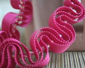 Peony pink grosgrain ribbon necklace stitched with glass beads