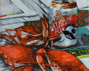Crabs and National Bohemian - 8 x 8 Giclee Print