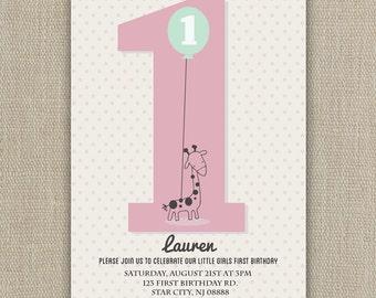 First Birthday Invitation - Boy or Girl - 1st bday
