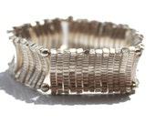 Silver Stretch Bar Bracelet - Reversible - Large