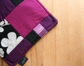 Eco friendly pot holder in bright fun purples and black
