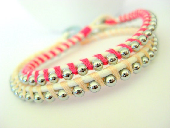 Wrapped- Stackable Layering bracelet duo