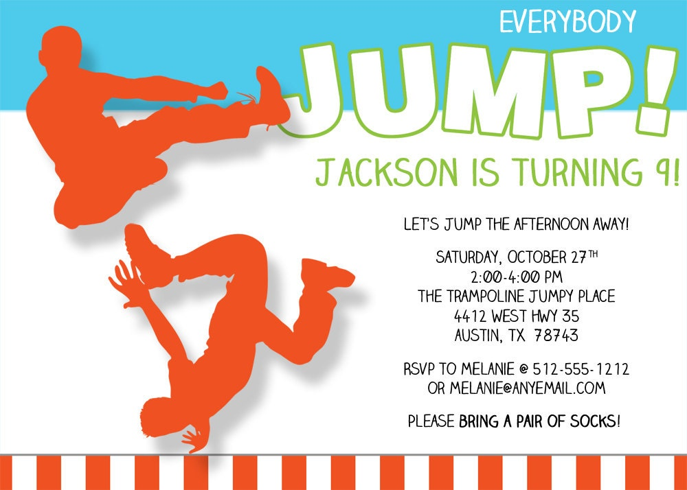 everybody jump birthday invitation printable by freshlycutcards. Black Bedroom Furniture Sets. Home Design Ideas