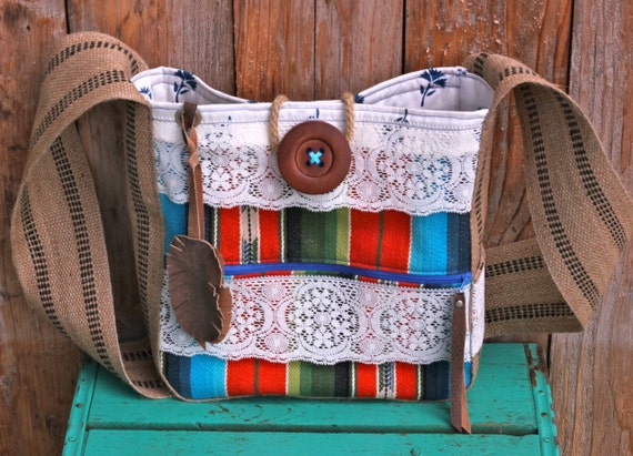Leah Hip Bag in rad tribal print, vintage lace, handmade leather feather, zippered pocket, & rustic jute