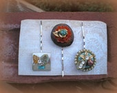 Boho Gypsy Turquoise Amber Topaz Vintage Jewelry Assemblage Bobby Bobbie Pins