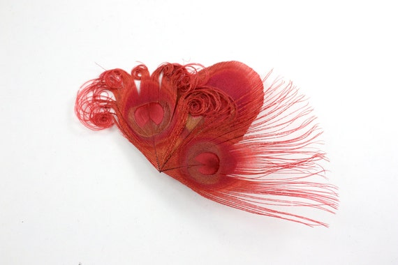 SALE Jovial - Red peacock hair clip / Feather Fascinator / Bridesmaid Hair Accessory
