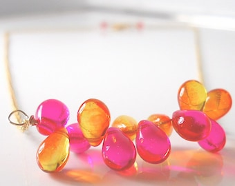 HAPPY Bright Orange + Pink FESTIVE + Fun Beaded  Necklace, SUMMER Style,  Glass Drops,  Gold Filled Chain Your Daily Jewels ~  Jewellery