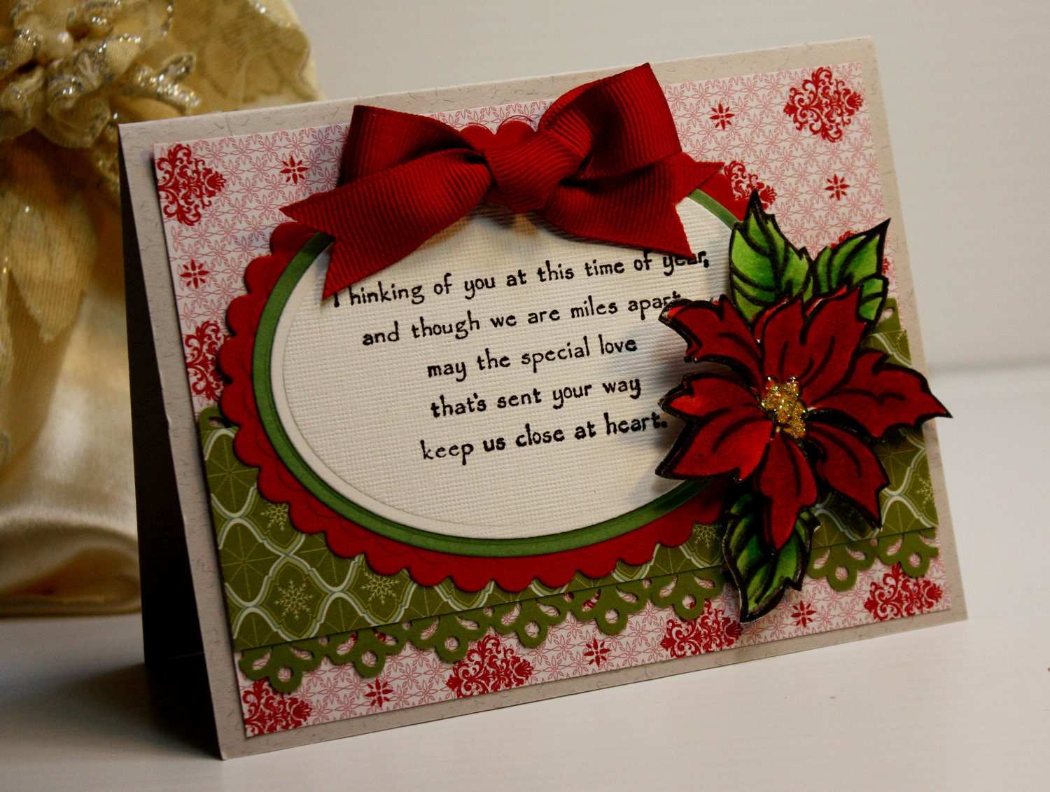 Christmas Card Handmade Greeting Card Thinking Of You At