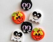 Halloween Friends handmade polymer clay buttons ( 6 )