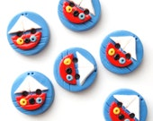 Button Tiny Sailboats handmade polymer clay buttons ( 6 )
