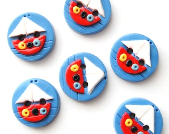Button Tiny Sailboats handmade polymer clay buttons ( 6 )