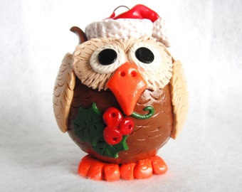 New Woodland Christmas Owl handmade polymer clay covered glass ornament ( 1 )