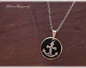 Hand Engraved Anchor - Gold Filled Anchor Pendant - Nautical Necklace with 18 inch chain