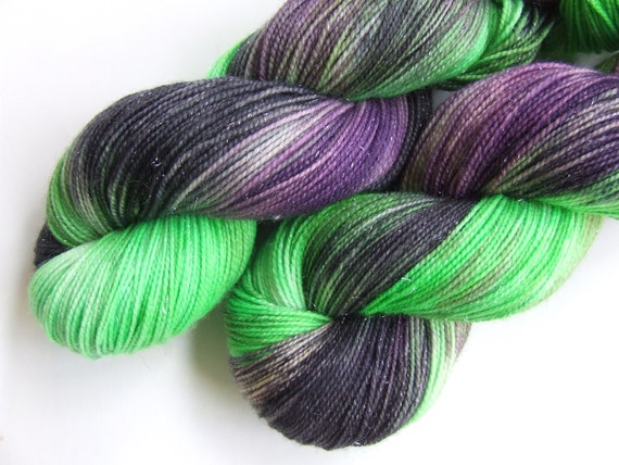 Witches Brew on Super Sparkle- Hand Dyed Sock Yarn