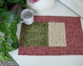 Quilted PlaceMat FRUIT of the SPIRIT, GENTELNESS, in Green, Cream, Brown and Red