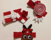 Christmas Ribbon Sculpture Set of Three - Gift, Candy, and Reindeer Choose color