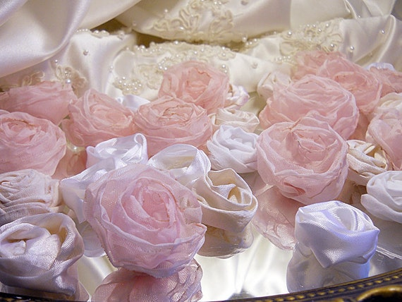 """Bulk Roses, 40 Light Pastel Pink and White & Ivory Roses. Great for weddings, bouquet making, scrapbooking, gifts and crafts.""""Ready to Ship"""""""