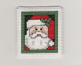Counted Cross Stitch Santa Christmas Magnet Handmade Handcrafted