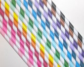 Vintage Inspired Paper Straws-  stripes- you pick your color-50 count with DIY printable Straw Flags