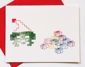 8 Bit Santa Christmas Morning card, retro gaming holiday notecard