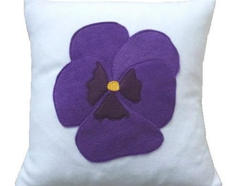 Pansy cushion, purple and White applique fleece pillow