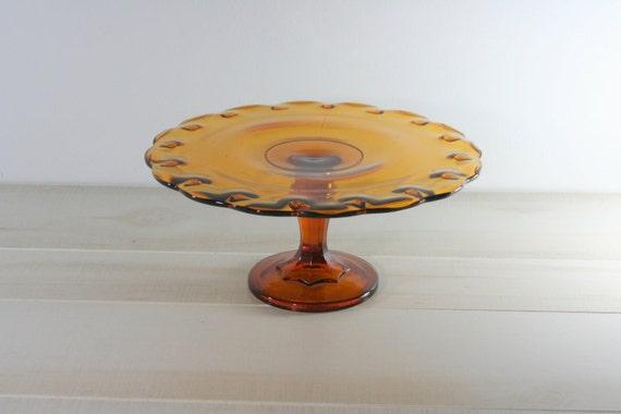Vintage Cake Stand Glass Amber