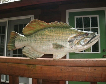"Largemouth Bass 30"" chainsaw wood carving rustic cabin decoration indoor/ outdoor game freshwater fish lake lodge country living wall mount"