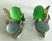 RESERVED-----Vintage  Avon Molded Green And Blue Earrings----RESERVED