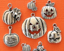 Pumpkin Charm Collection Antique  Silver Tone 8 Charms - COL113