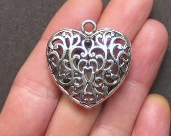 2 Large Heart Antique  Silver Tone Exceptional Details 2 Sided - SC1447