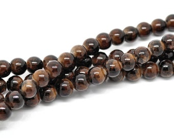 15 Glass Beads 10mm - Earth Brown with Tawny Undertones - BD44