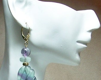 Carved Fluorite14k Gold Earrings