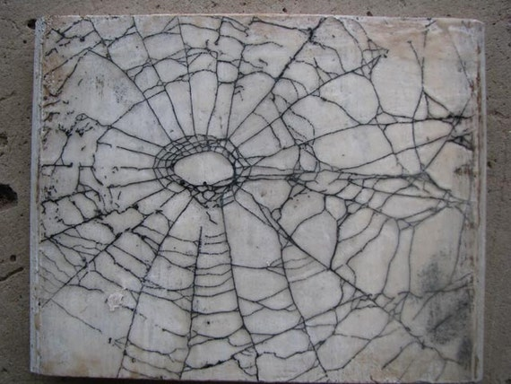 western colorado encaustic beeswax real spider web cobweb on wood halloween