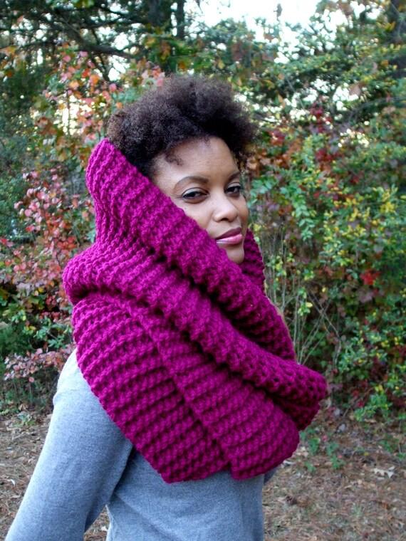 Hand Knit Stylish Winter Infinity Scarf /Chunky/ Shawl Hood in Raspberry
