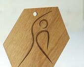Wood Yoga Side Bend Ornament Laser Engraved