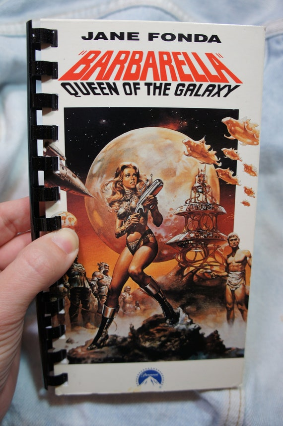 vintage recycled BARBARELLA vhs notebook