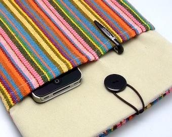 KI iPad Air case 2, iPad cover, iPad sleeve/ Samsung Galaxy Tab 3 10.1 with 2 pockets, PADDED - Colorful strips (a)
