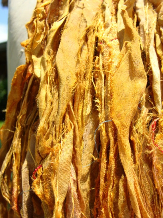 Beautiful Golden Sun Yellow Sari Ribbon Yarn 100 Gram Skein
