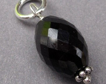 Black Spinel Gemstone Sterling Silver Wire Wrapped  Pendant Dangle Birthstone Charm with Sterling Silver Jump RIng