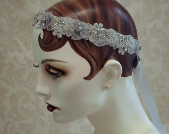 Silver Grey Lace Hair Wreath,  Silver Gray Bridal Sash, 1920s Bridal Hair Accessory, Crystal And Rhinestone Bridal Sash, Bridal Headband