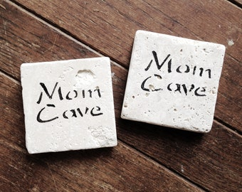 Mom Cave Natural Tumbled Marble Coasters, Hand Painted Gift for Her, Mother's Day, Funny, Set of 4 Rustic Home Decor, Custom Holiday Gift