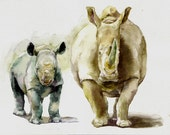 Two Rhinos -print from original watercolor painting, Holiday present / birthday present / art collection