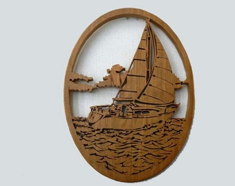 Sailboat Silhouette Scene in Cherry Wood with Optional Base