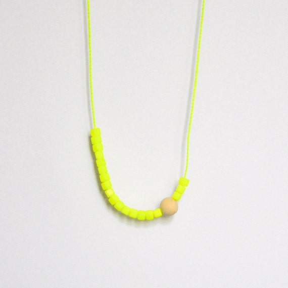 Neon yellow & wooden bead necklace